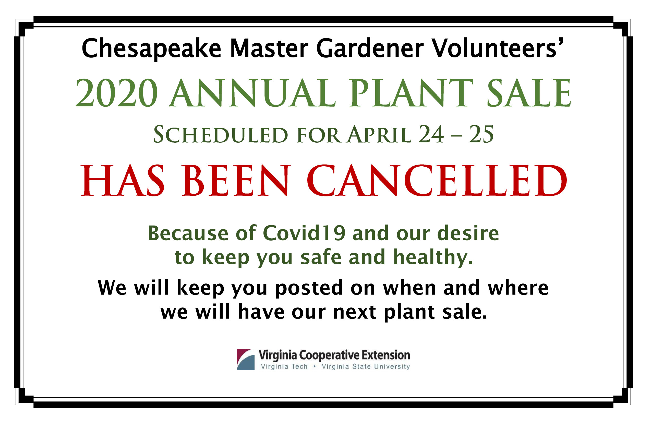 Plant Sale Cancelled